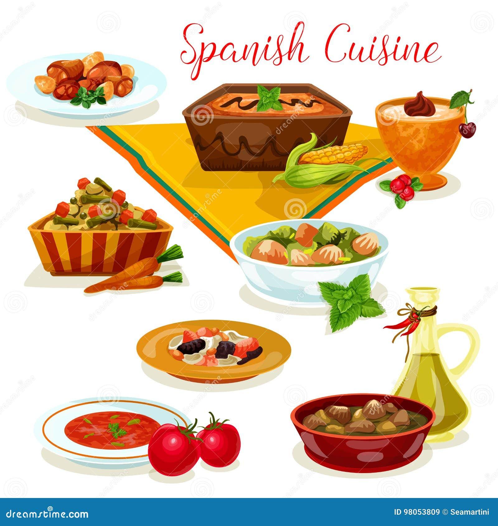 spanish cuisine tasty dinner menu cartoon icon stock vector