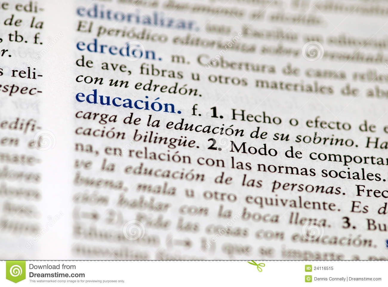 spanish dictionary definition for education royalty free