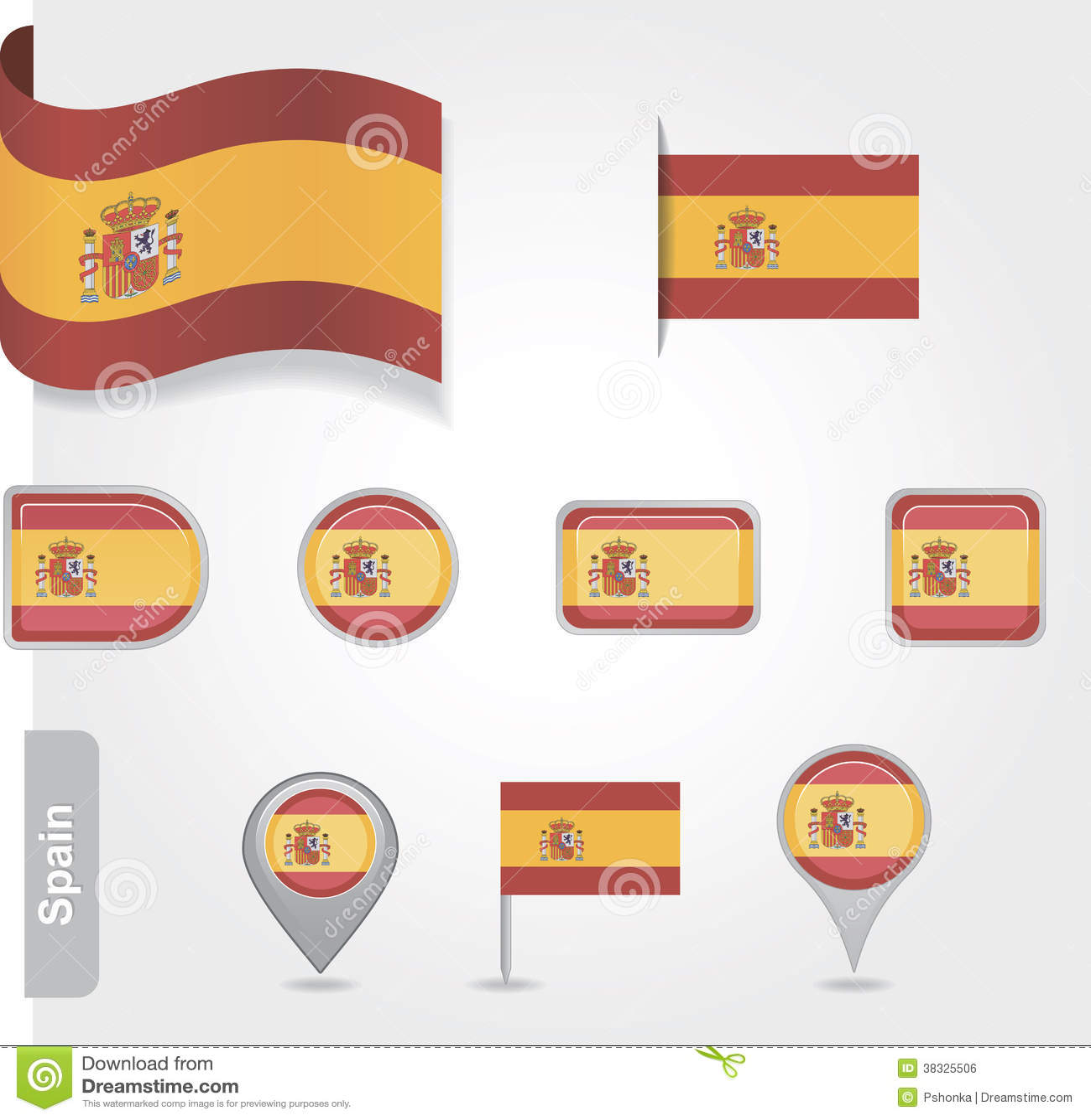 spanish flag icon stock vector illustration of flag 38325506