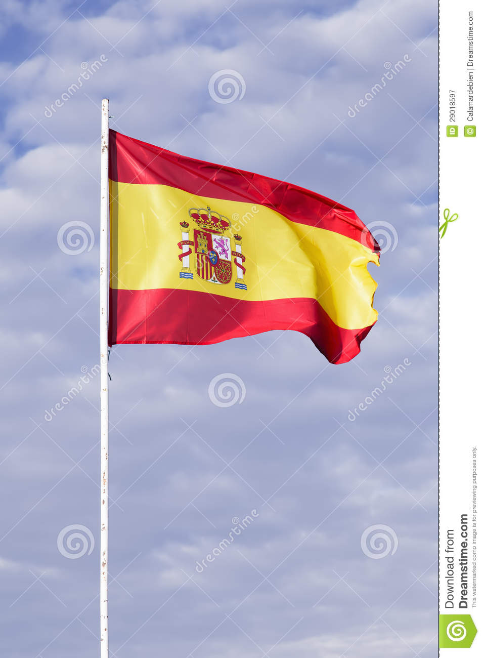 spanish flag waving in the wind royalty free stock photography