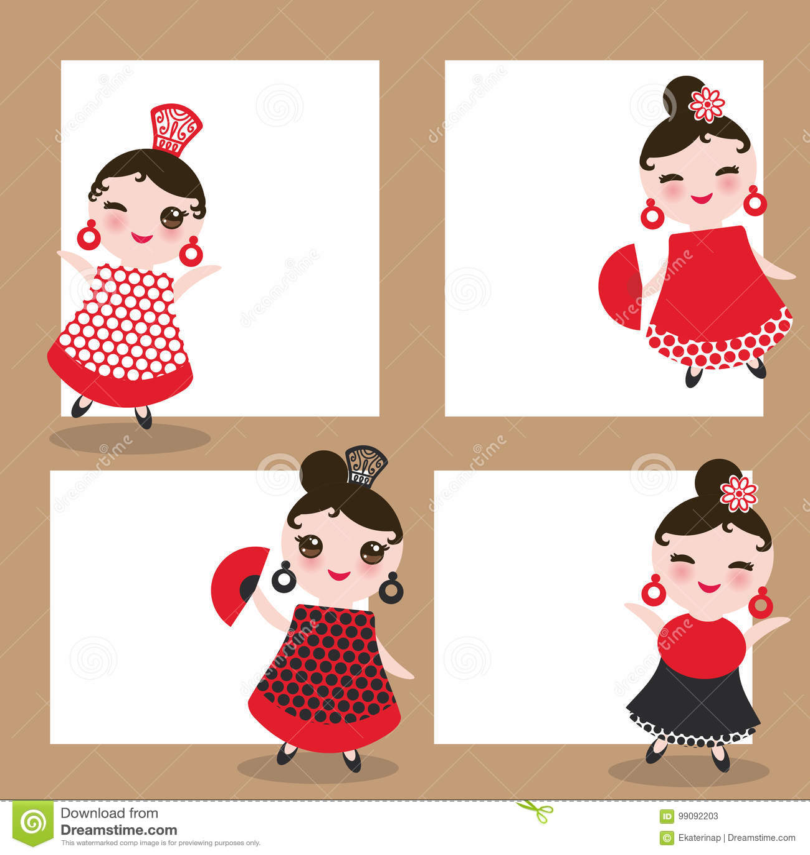 spanish flamenco dancer card design banner template woman kawaii