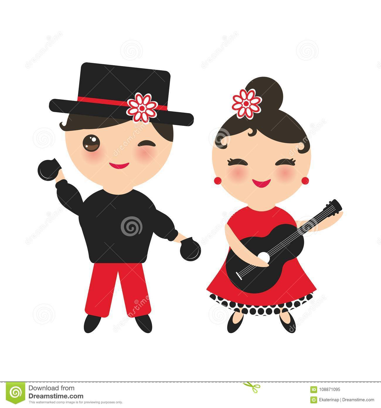 b7e447d2c3b0 Spanish flamenco dancer set. Kawaii cute face with pink cheeks and winking  eyes. Gipsy girl with guitar and boy with castanets, red black white dress,  ...