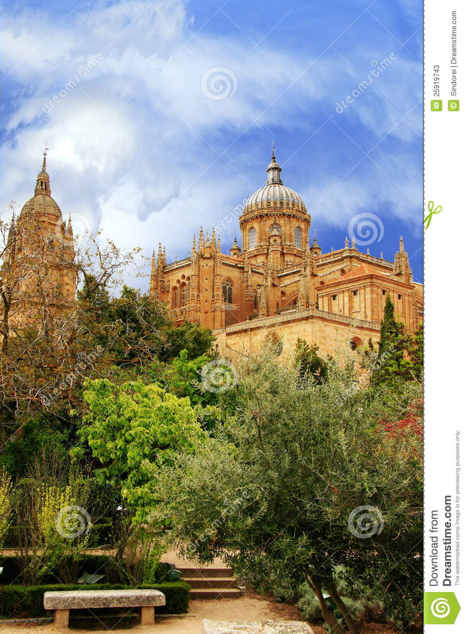 Download Spanish Gardens And Cathedral Stock Image   Image Of  Mediterranean, Church: 25919743