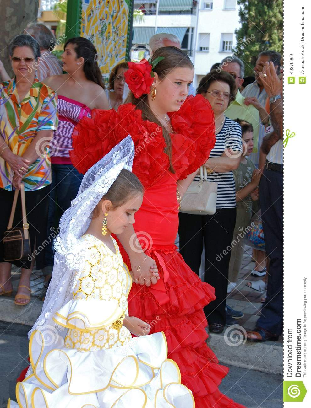 Spanish Girls In Traditional Dress Editorial Stock Image Image 49870969