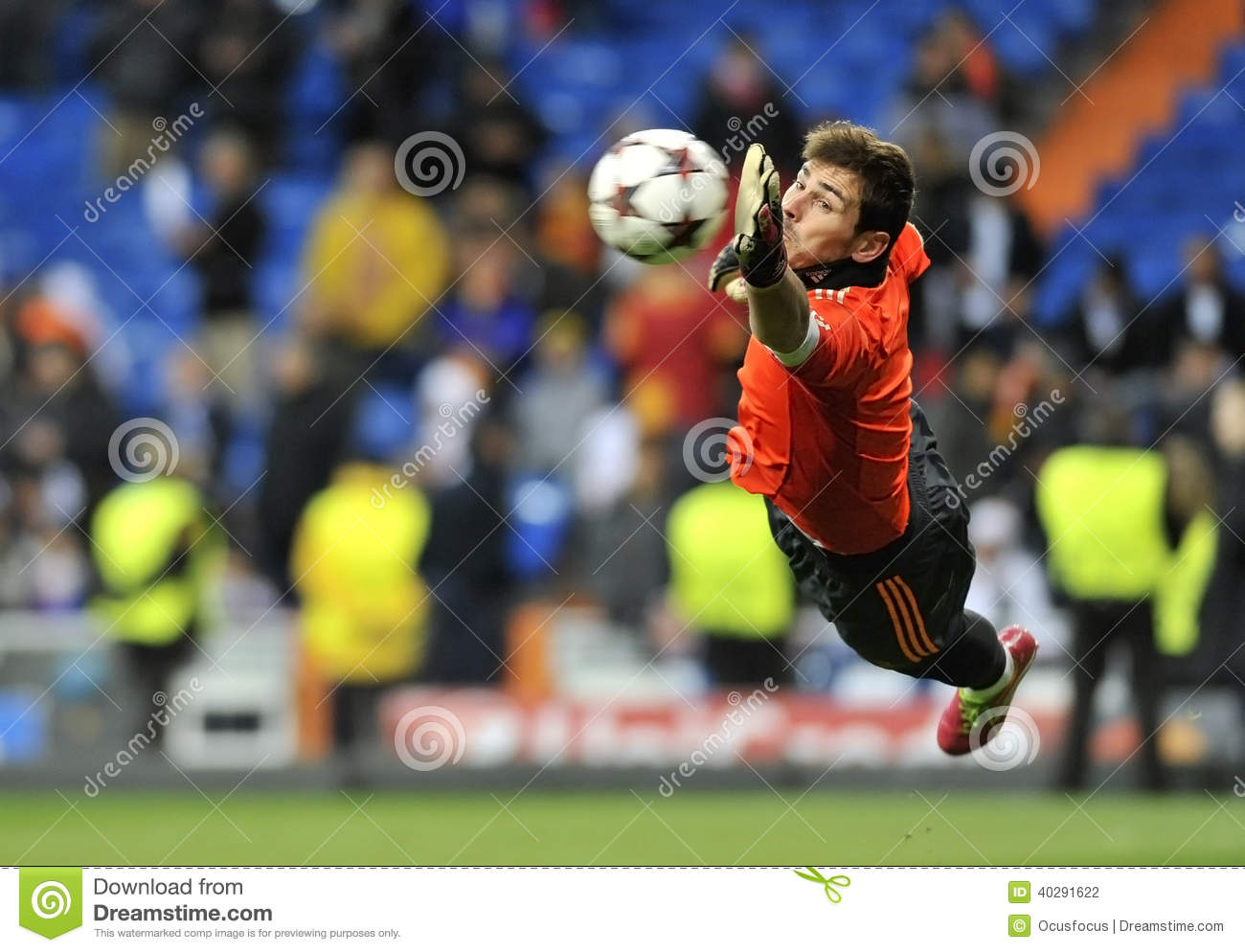 Spanish goalkeeper of Real Madrid Iker Casillas in action
