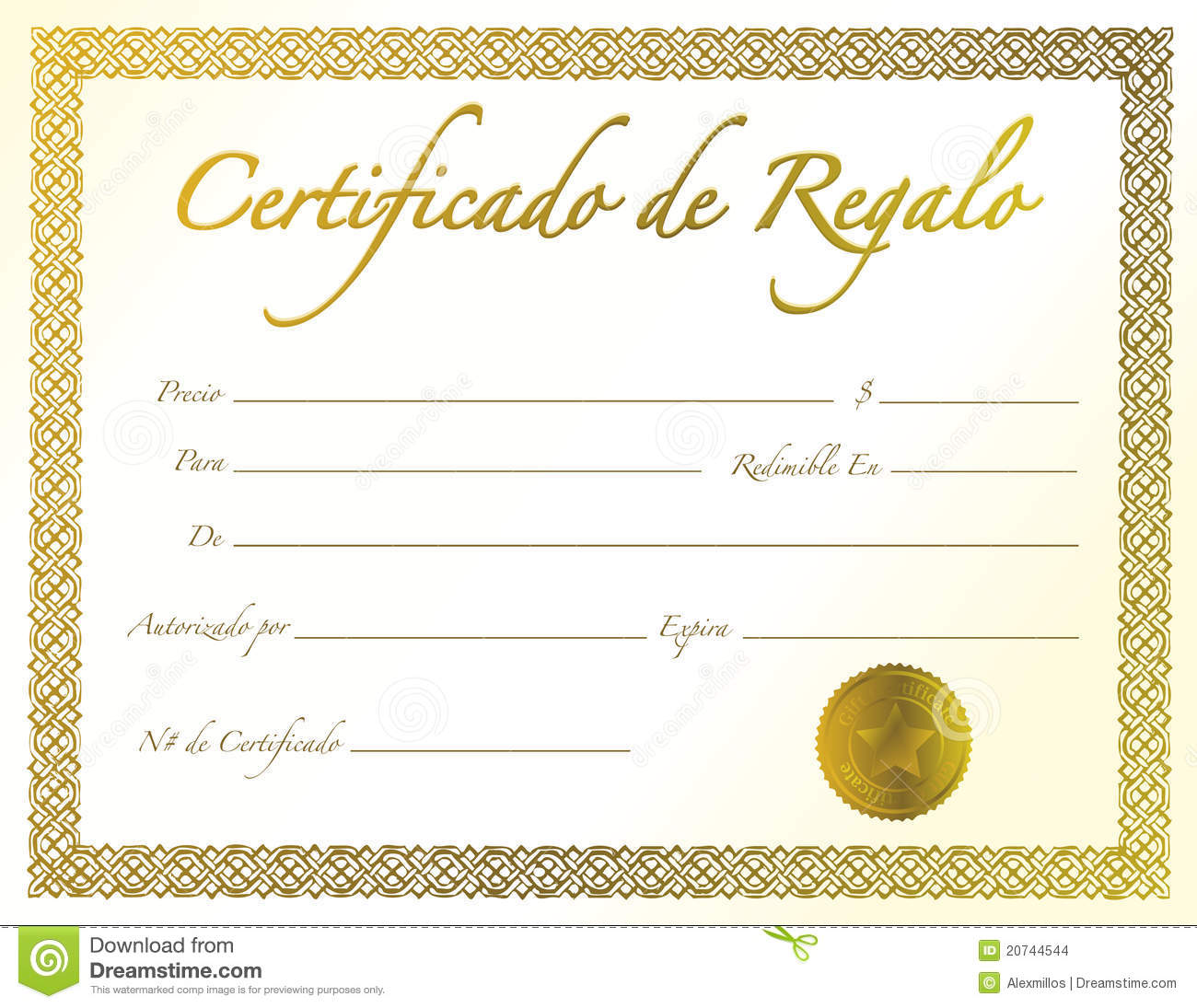 Spanish - Gold Gift Certificate With Golden Seal Stock ...