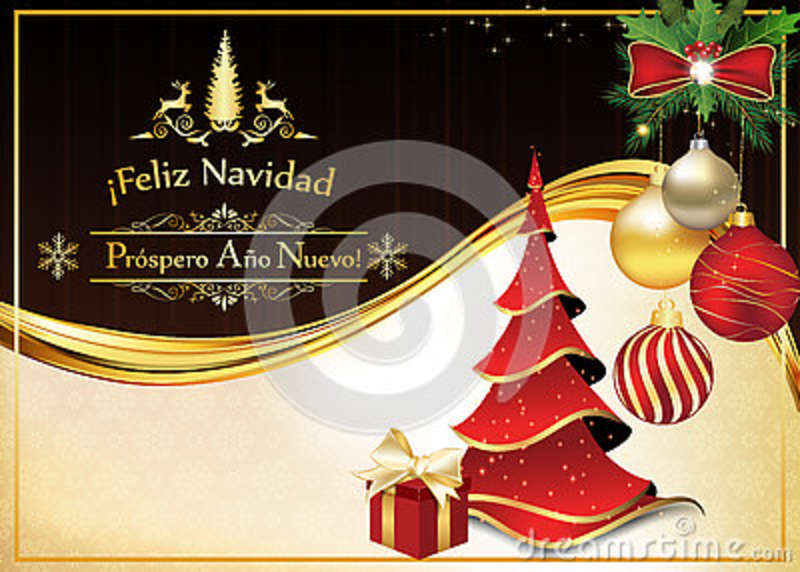 spanish greeting card for christmas and new year