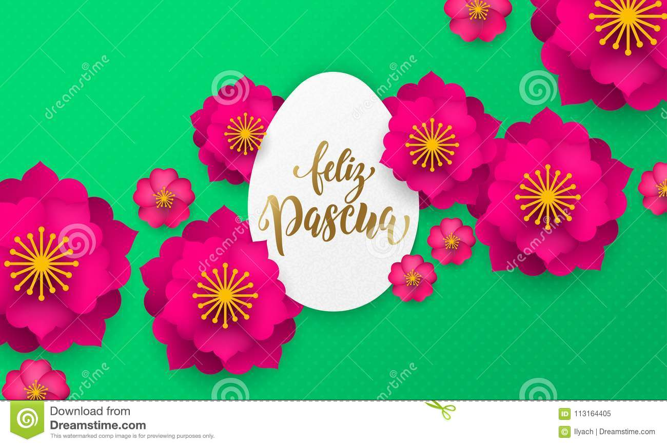 Spanish happy easter greeting card of egg paper cut spring flowers download spanish happy easter greeting card of egg paper cut spring flowers and gold text m4hsunfo