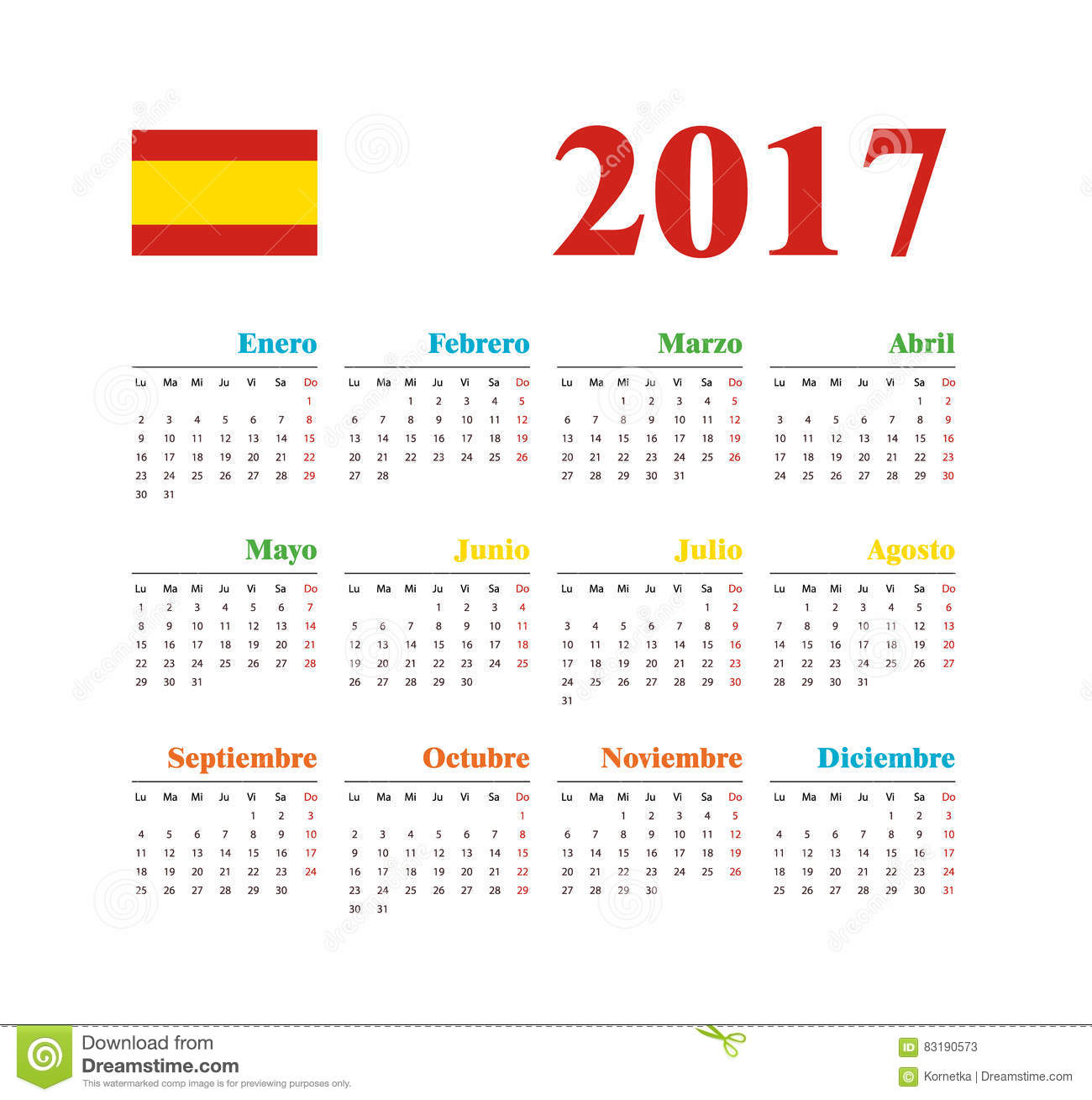 Weekly Calendar In Spanish : Spanish horizontal calendar stock vector image