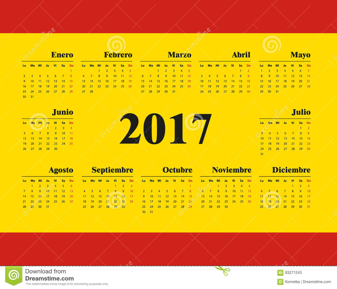 Weekly Calendar In Spanish : Spanish pocket calendar for cartoon vector