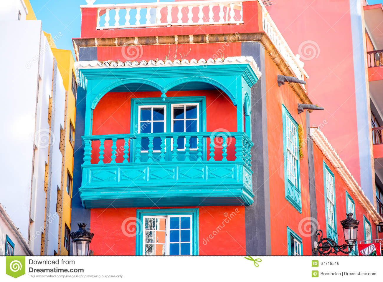 colorful house with beautiful balcony in santa cruz de la palma old town on la palma island in spain