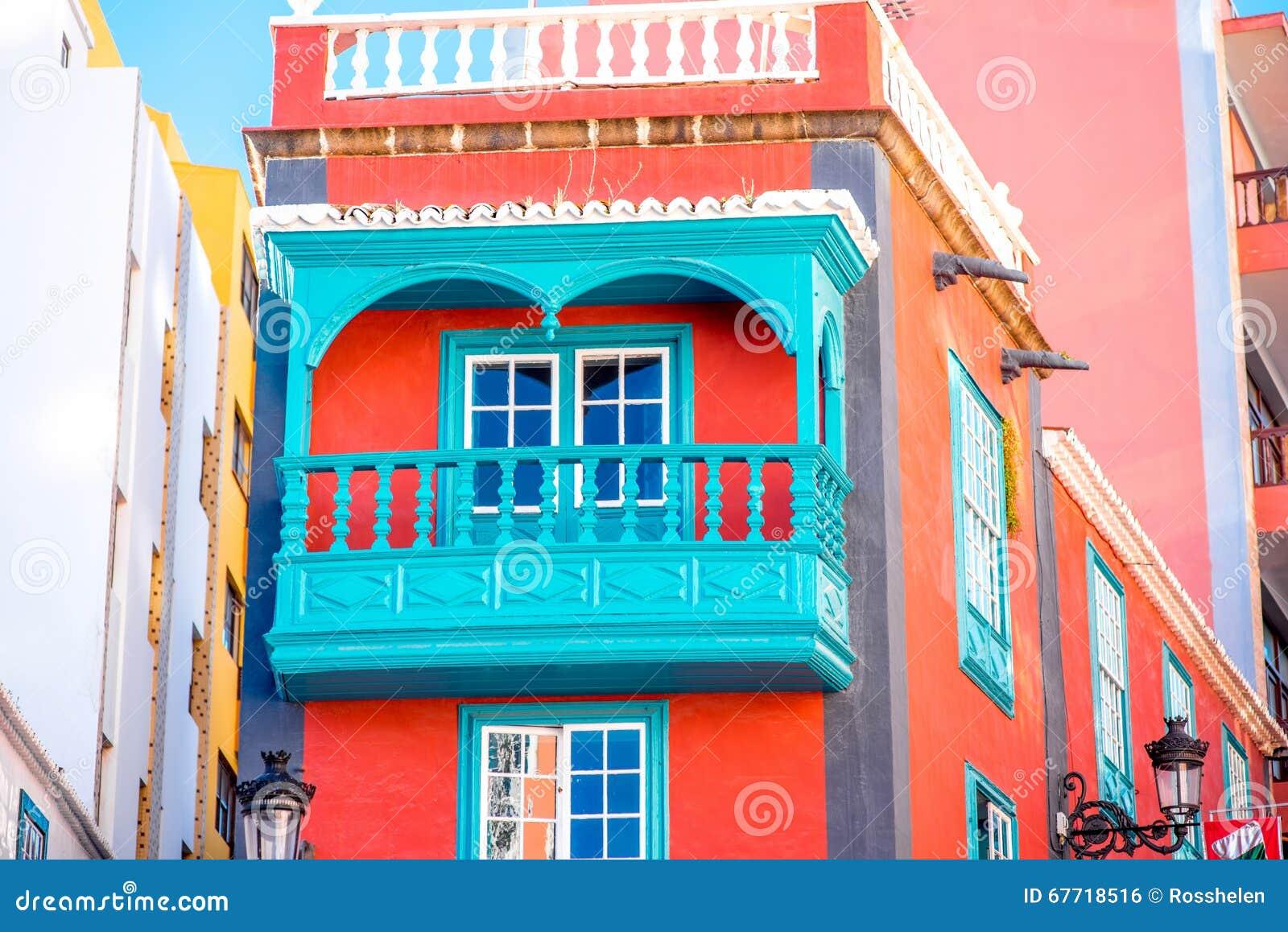 colorful house with beautiful balcony in santa cruz de la palma old town on la palma island in spain