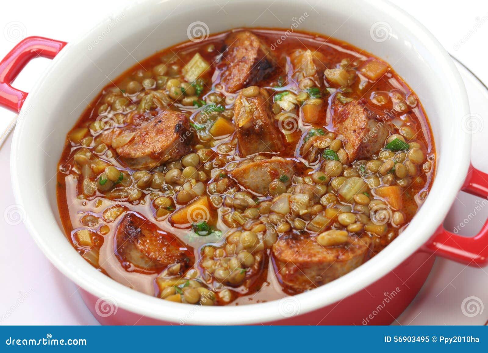 Spanish Lentil Soup With Chorizo Stock Photo - Image: 56903495