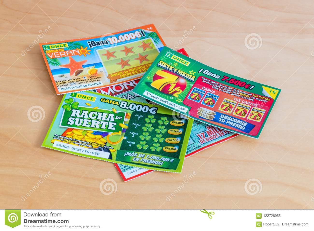 Spanish Lottery Scratch Cards On Wooden Table  Editorial
