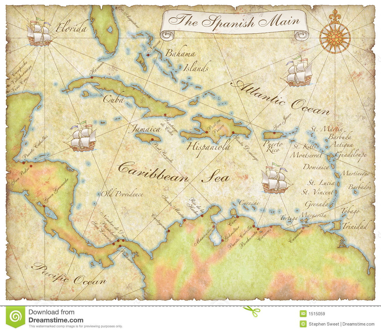 Spanish Main Map stock illustration. Illustration of cutlass - 1515059