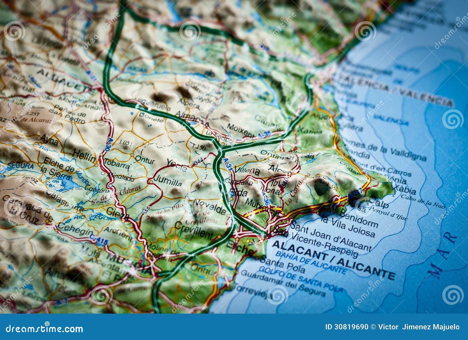 Spanish Map Of Costa Blanca Alicante Spain Stock Photo