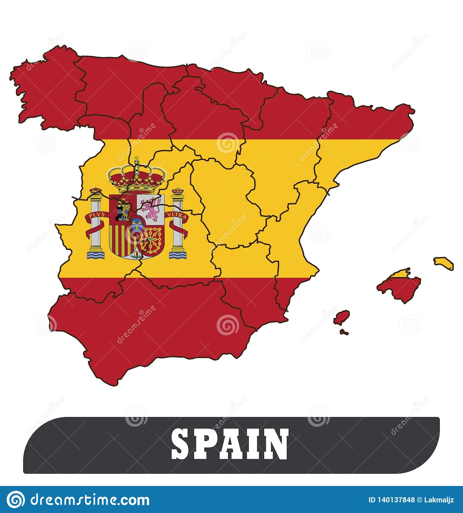 Spanish Map And Spanish Flag Stock Vector - Illustration of ...