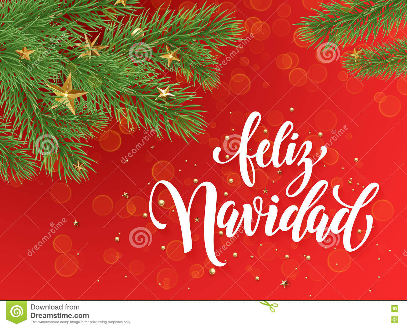 Spanish Merry Christmas Feliz Navidad Greeting Card Decoration Red