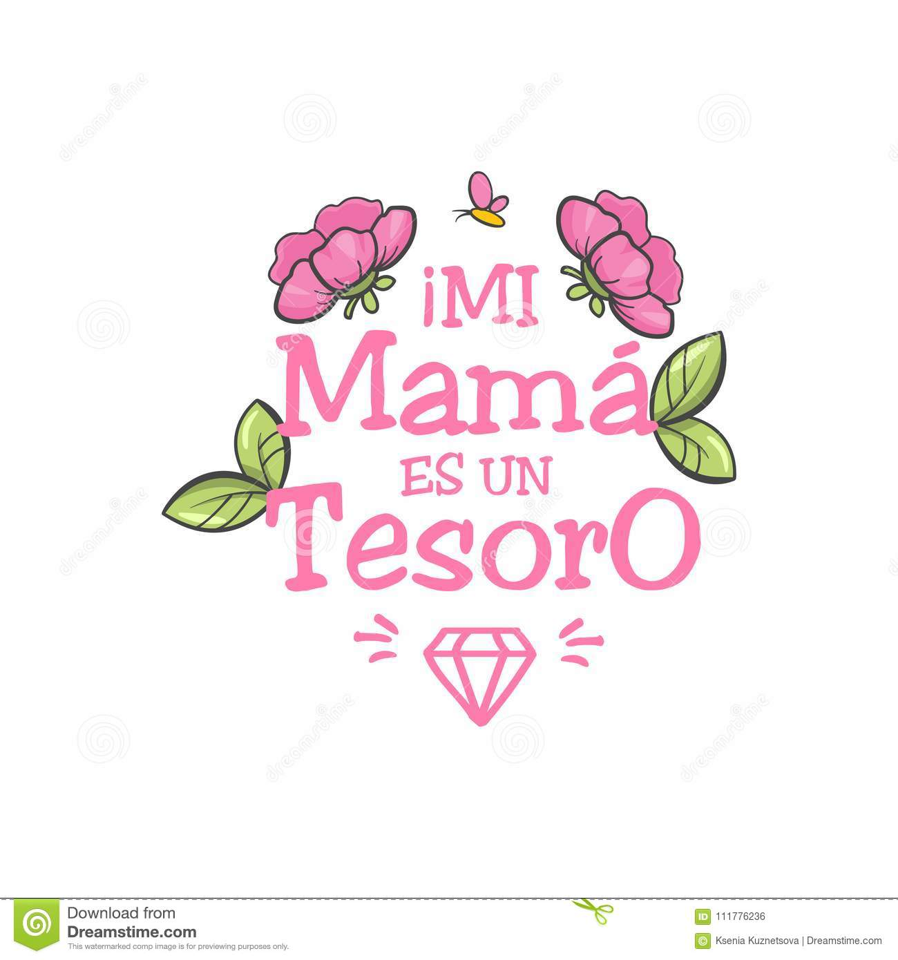 Spanish Mother Day Greeting Stock Vector Illustration Of Family