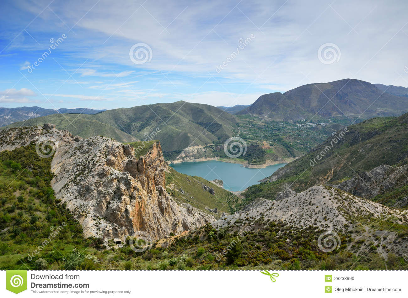 spanish mountains sierra nevada in spring stock photo