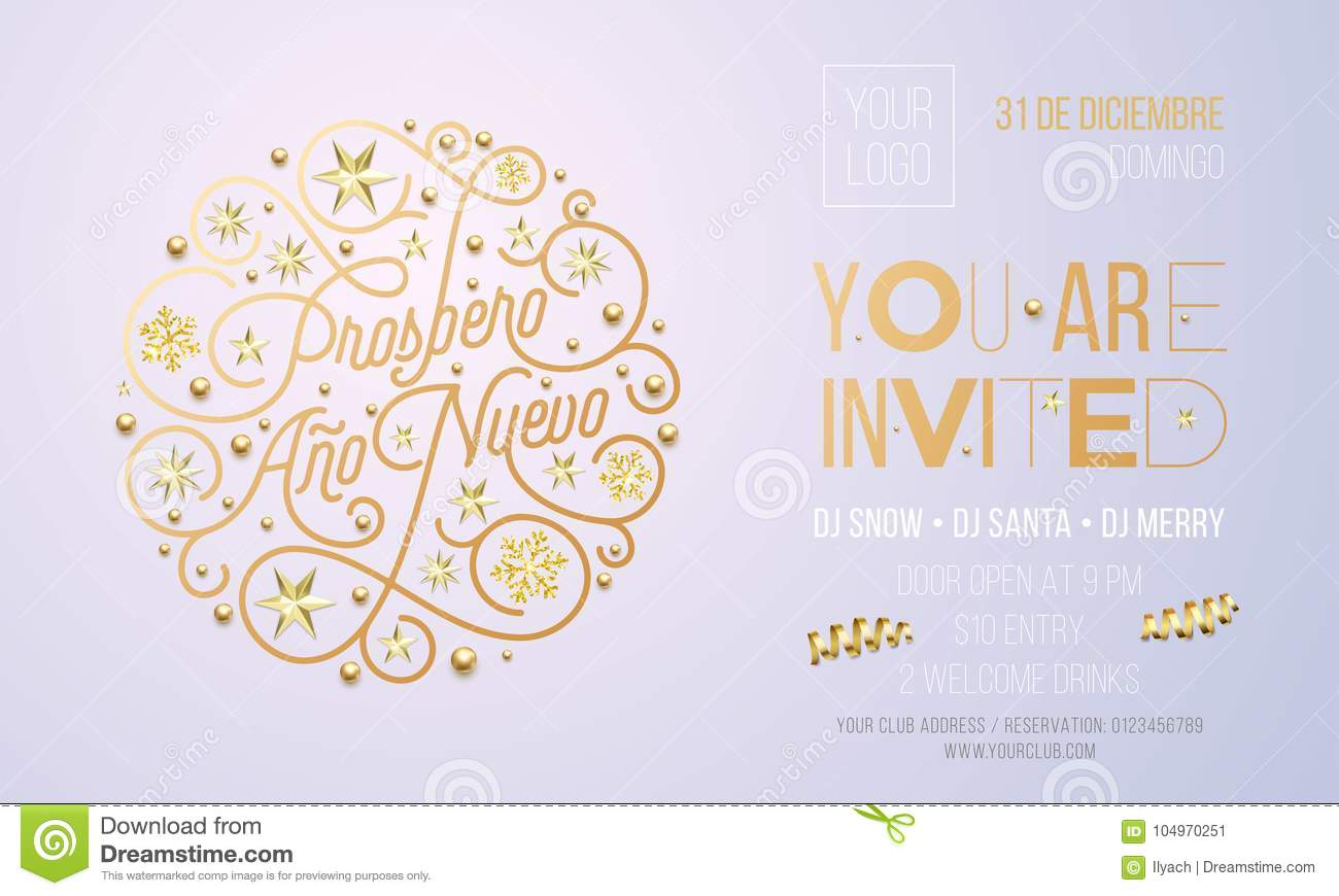 Spanish New Year Party Invitation For Holiday Celebration Design