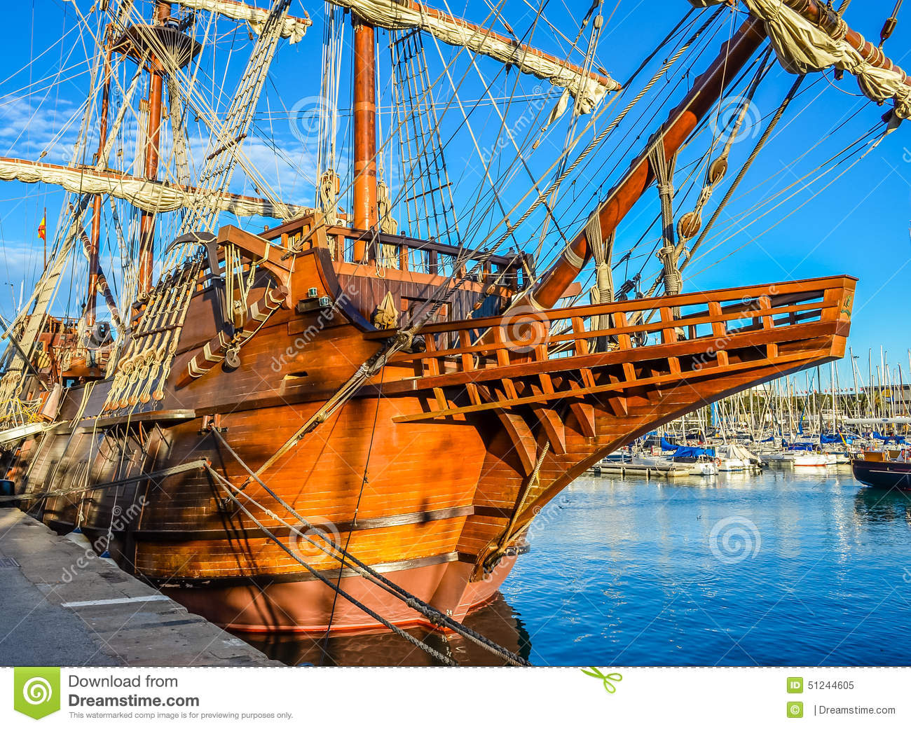 Spanish Old Ship In Barcelona Stock Image - Image of ...