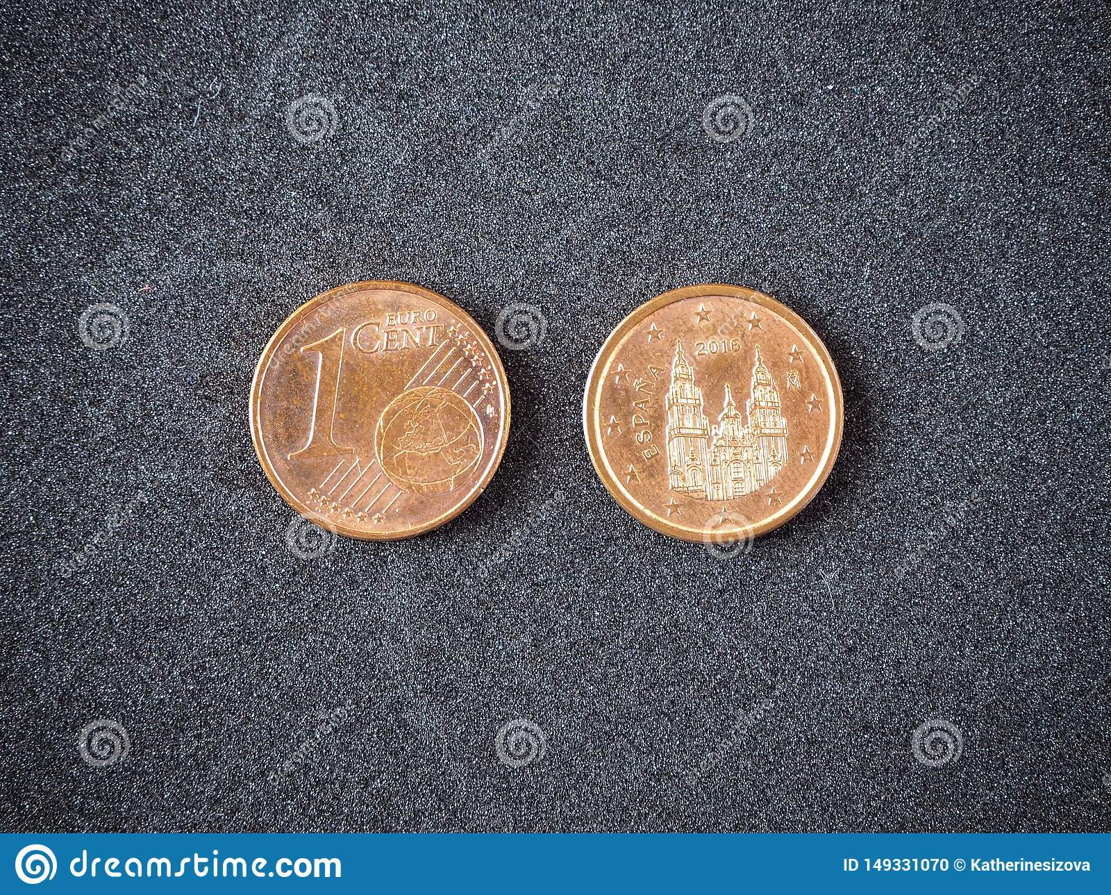 Spanish One Euro Coin Head And Tail On The Gray Background