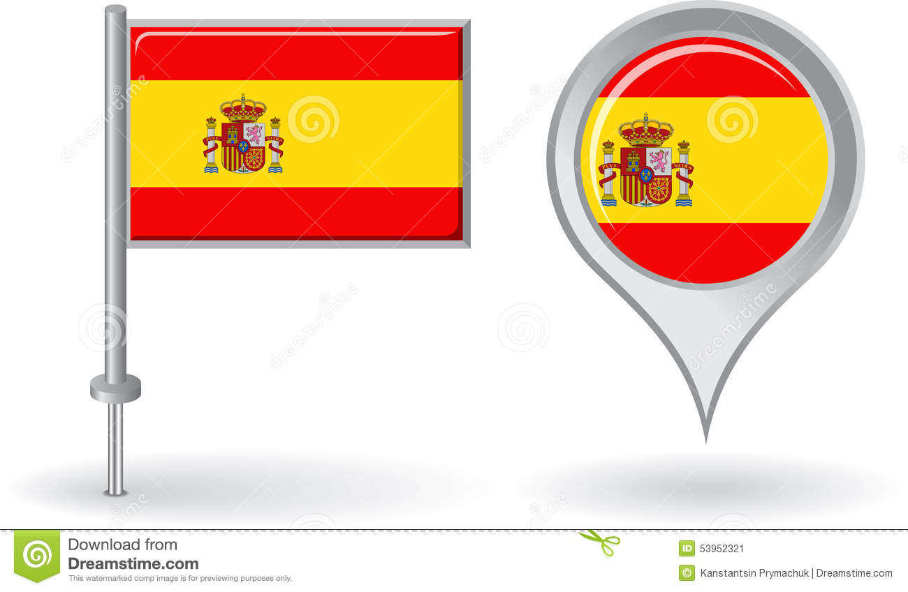 Pin Location Map Free Vector Graphic On Pixabay: Spanish Pin Icon And Map Pointer Flag. Vector Stock Vector