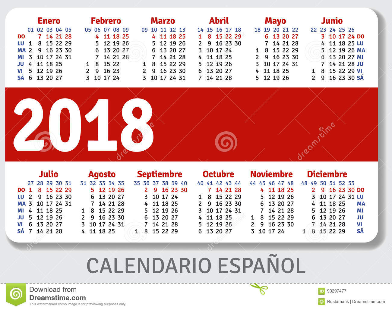 spanish pocket calendar for 2018
