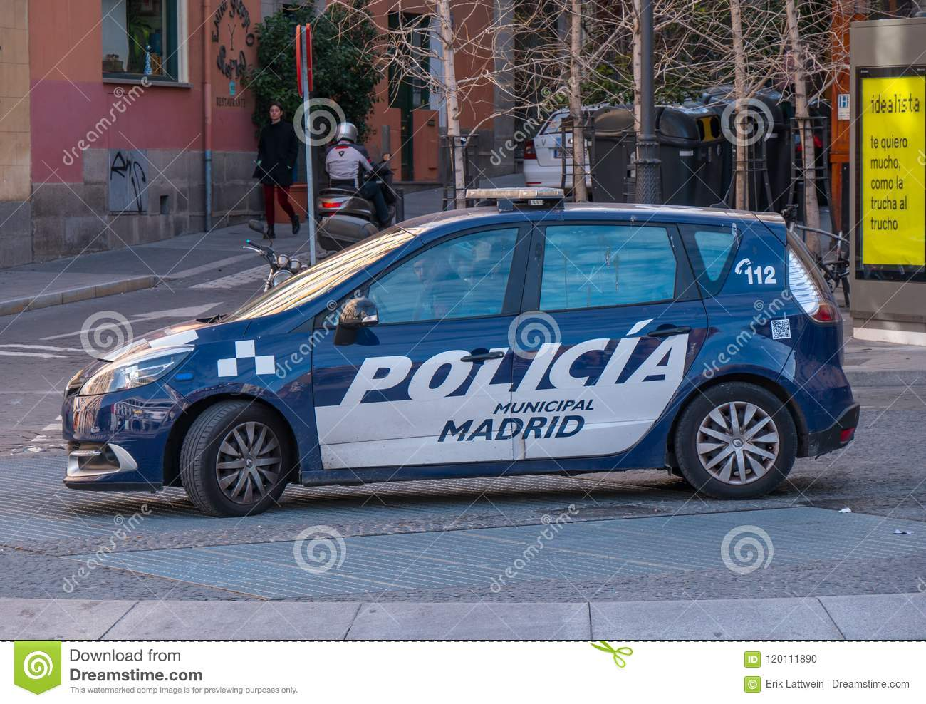 Spanish Police Car In Madrid Editorial Image Image Of Monument