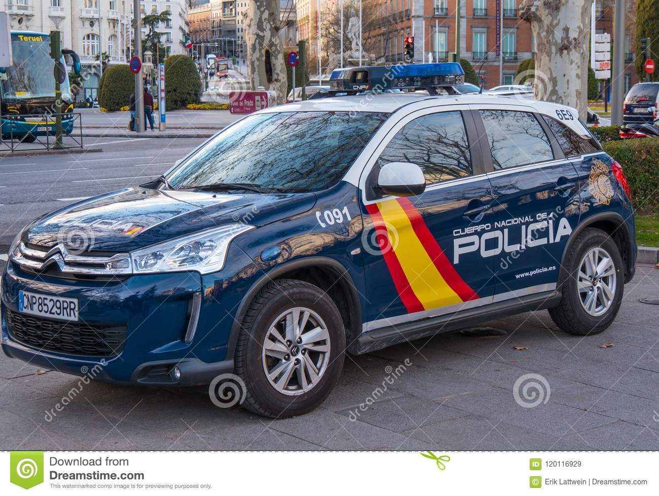 Spanish Police Car In Madrid Editorial Stock Image Image Of People