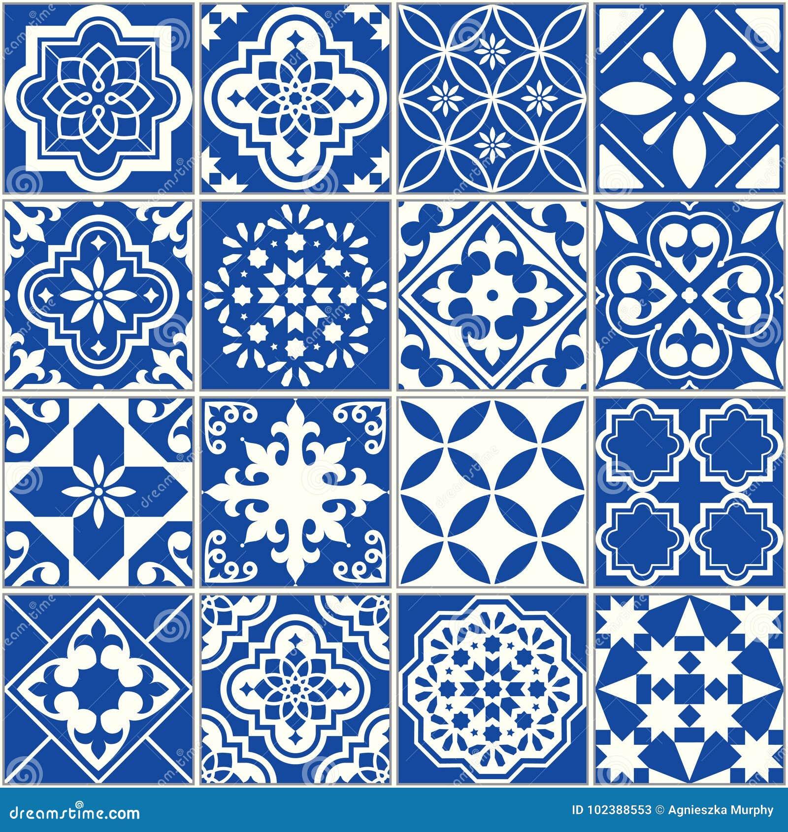 Spanish Or Portuguese Vector Tile Pattern Lisbon Floral Mosaic