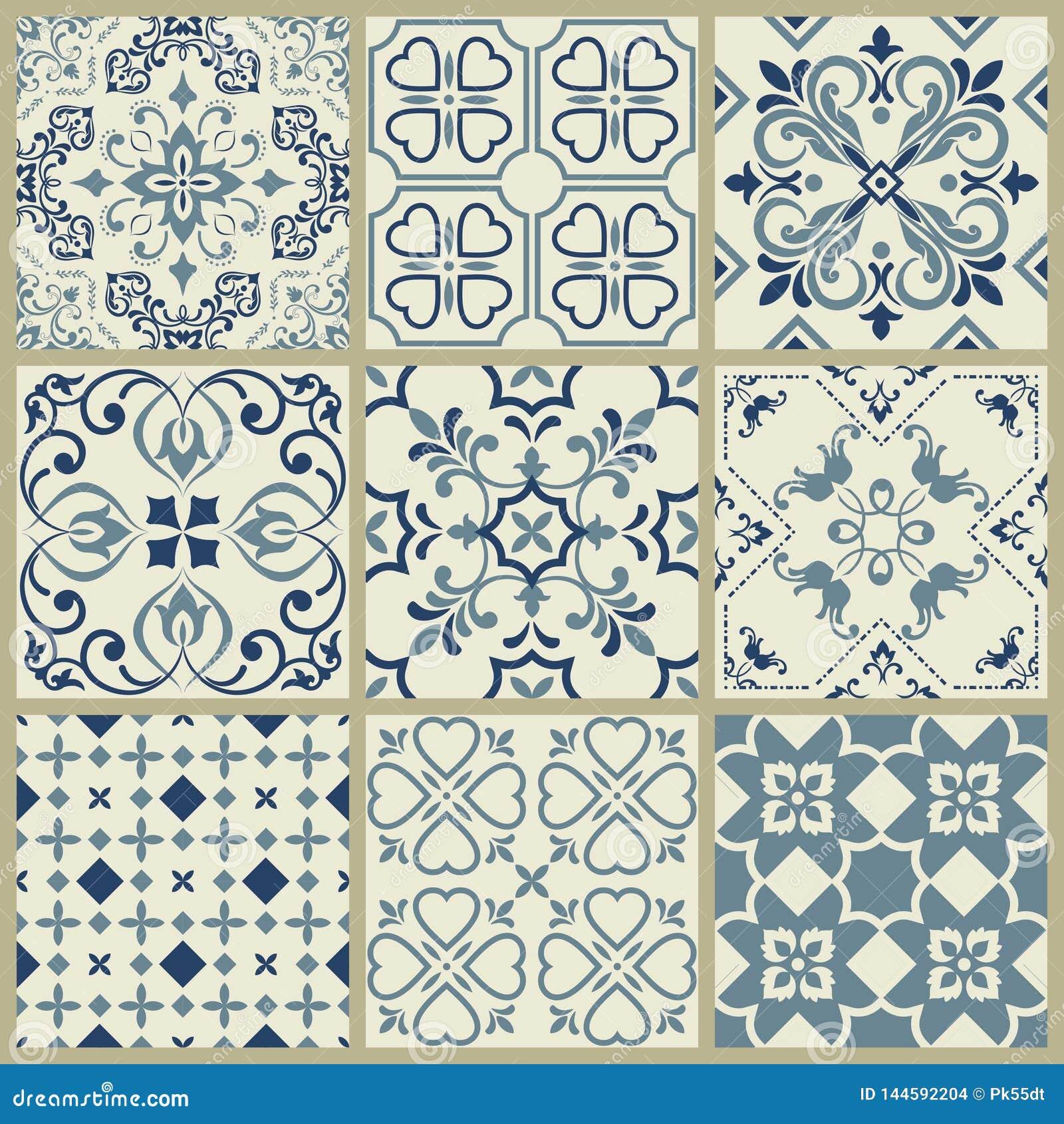 Spanish or Portuguese vector tile pattern, Lisbon floral mosaic, Mediterranean seamless navy blue ornament.Ornamental tile