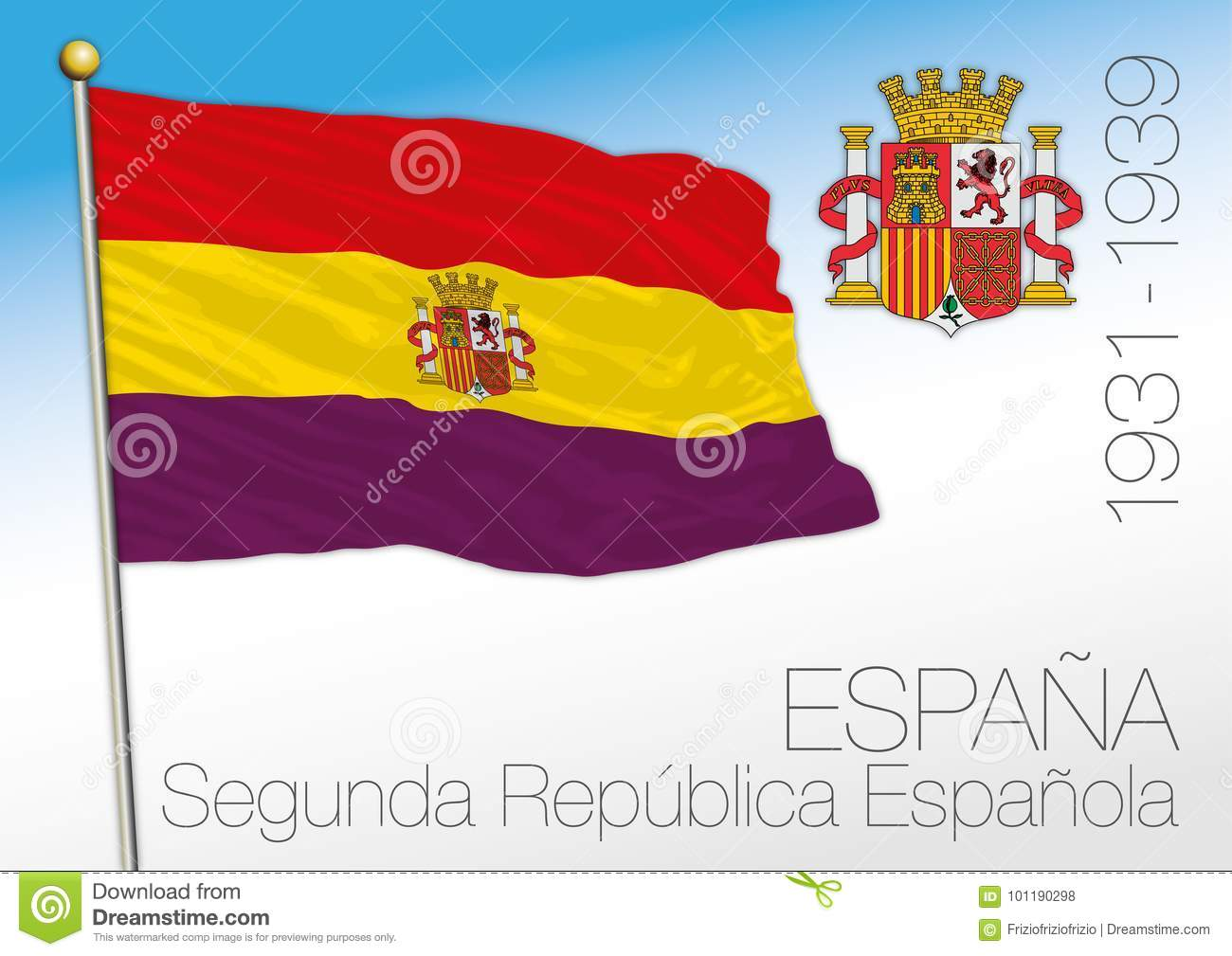 spanish republic historical flag and coat of arms spain 1931