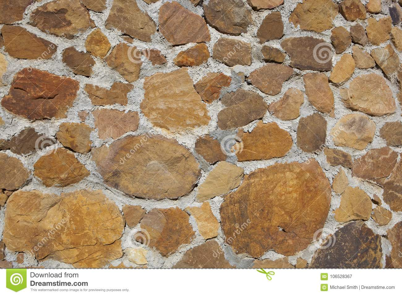 Spanish Rustic Stone Wall Background Stock Image