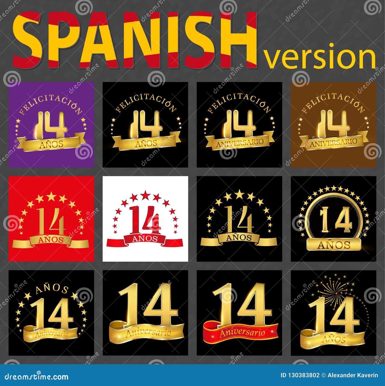 Spanish set of number fourteen 14 years