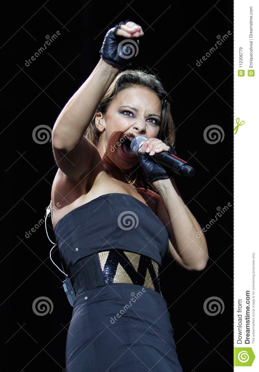 Spanish Singer Chenoa Gesturing Live Vertical Editorial Stock Image