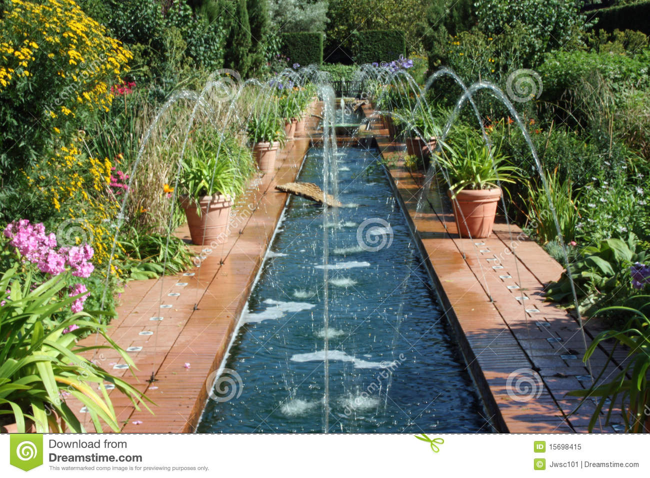 Fountains In A Spanish Style Garden Stock Image