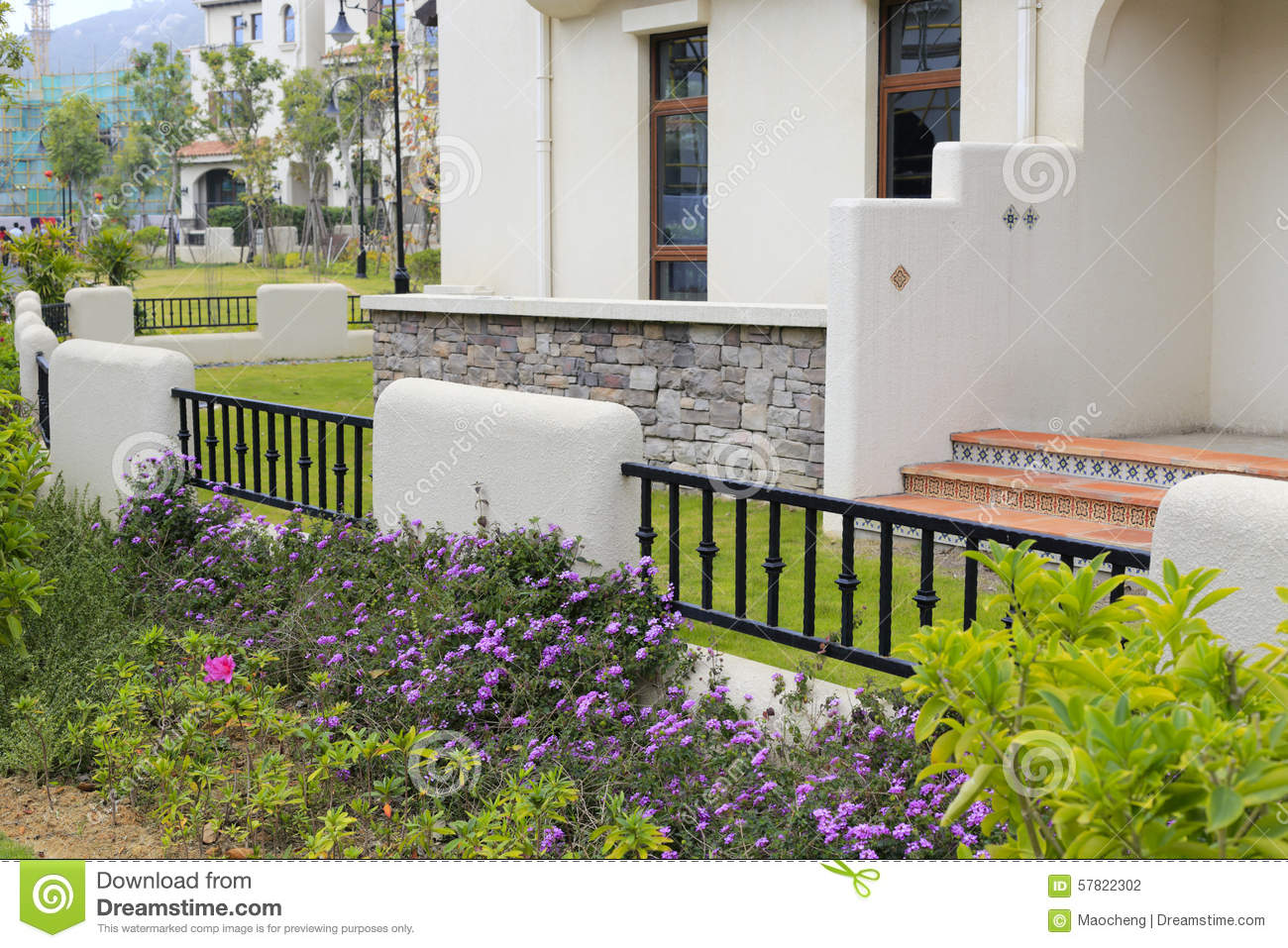 Stock Photo Spanish Style House Backyard New Zhangzhou City China Image57822302 on Spanish House Plans With Courtyard