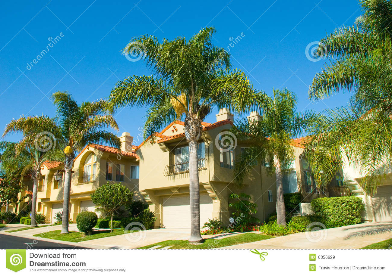 Spanish Style Houses In A Master Planned Community Stock