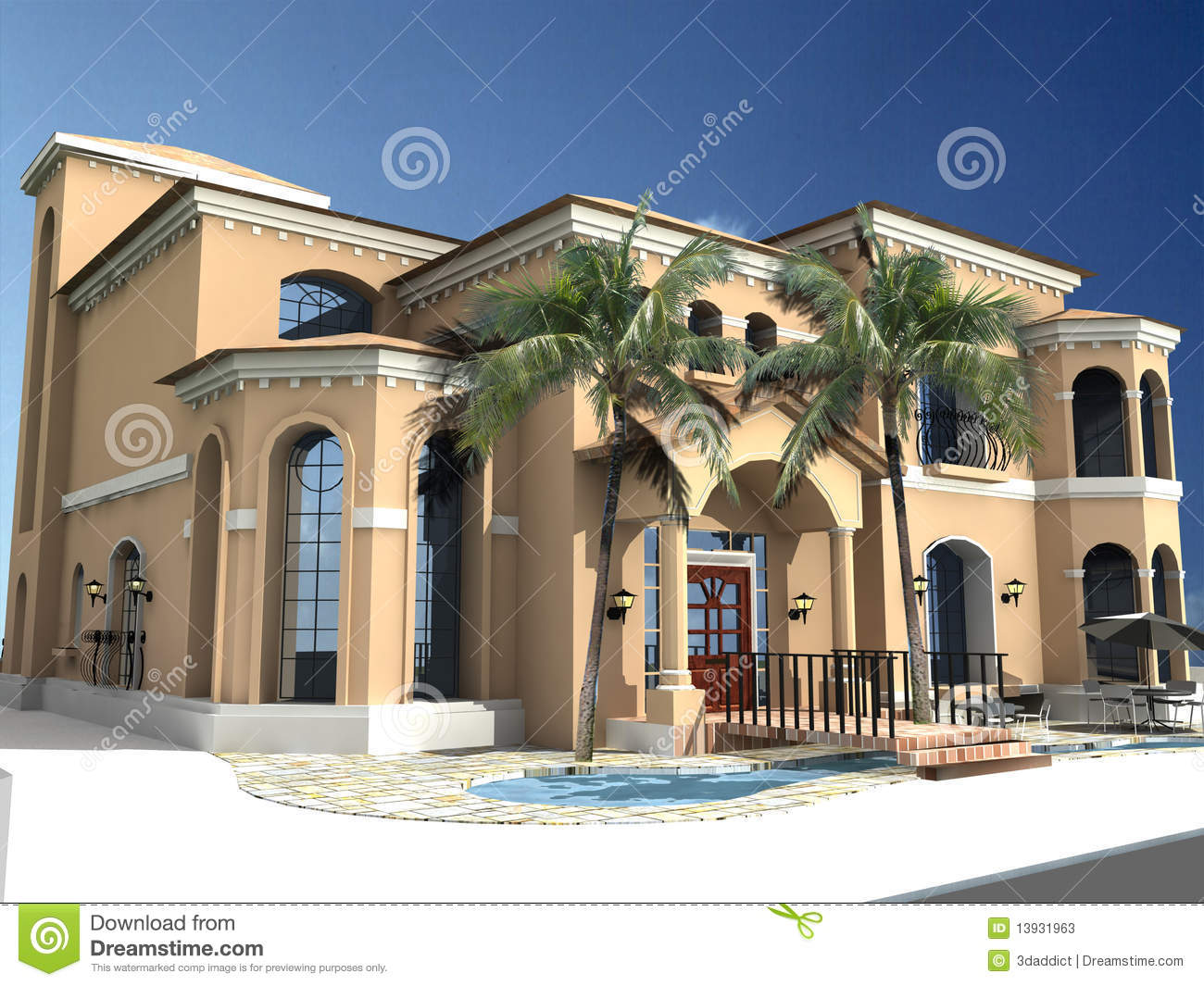 Spanish style villa stock illustration illustration of for Villa style homes