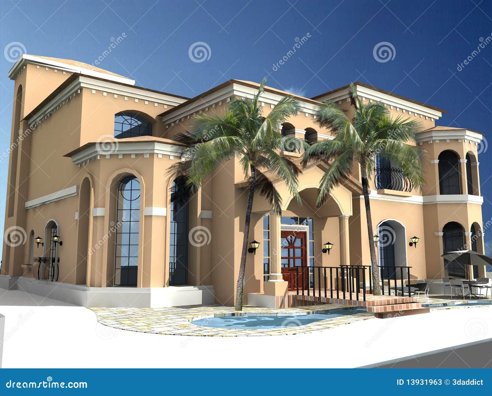 Spanish Style Villa Stock Photos Image