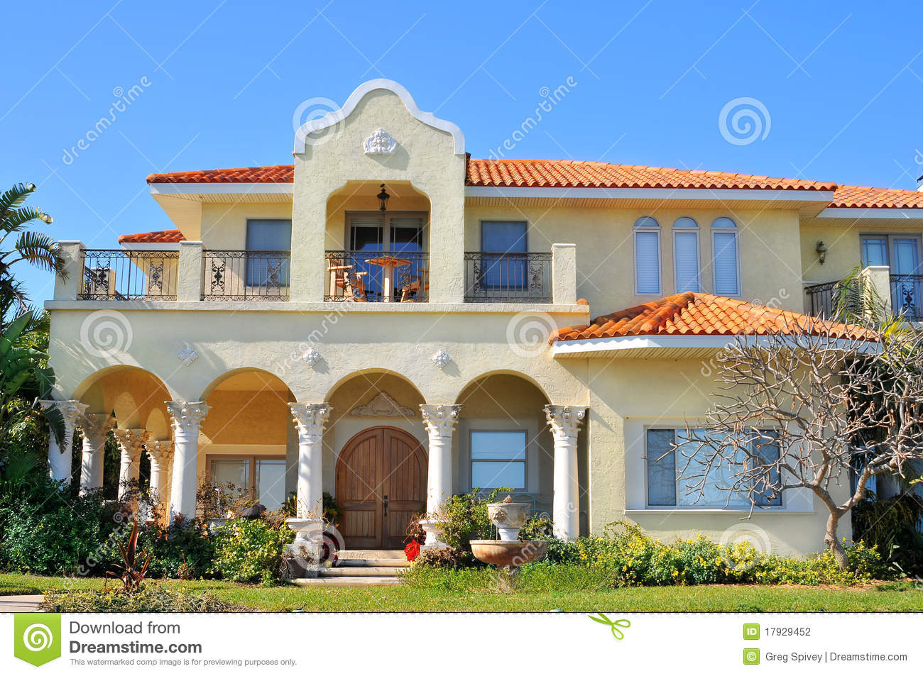 Spanish Style Waterfront Home Stock Photography - Image