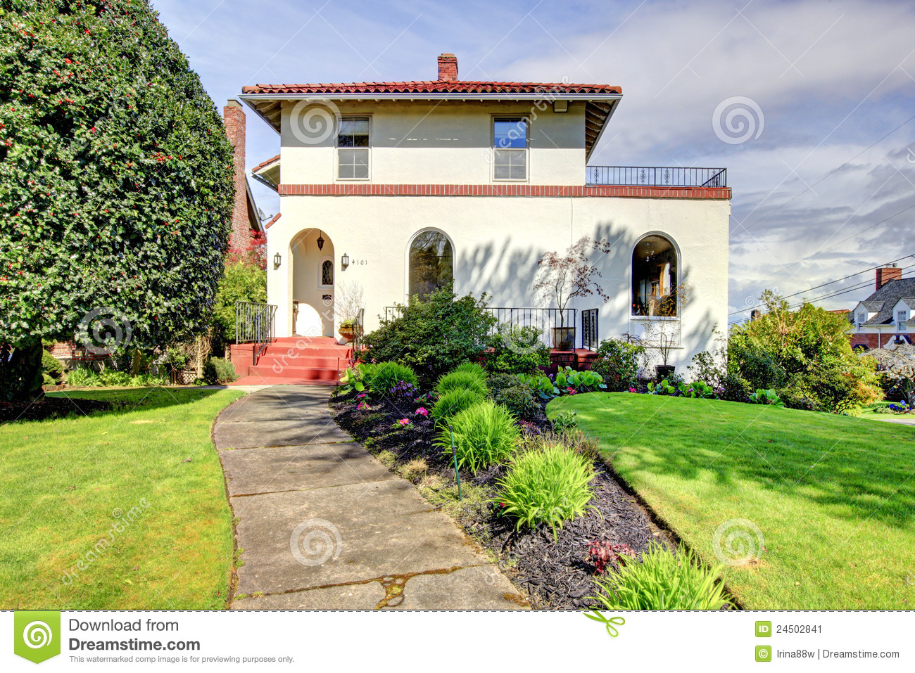 Spanish Style White House Front Exterior Stock Image