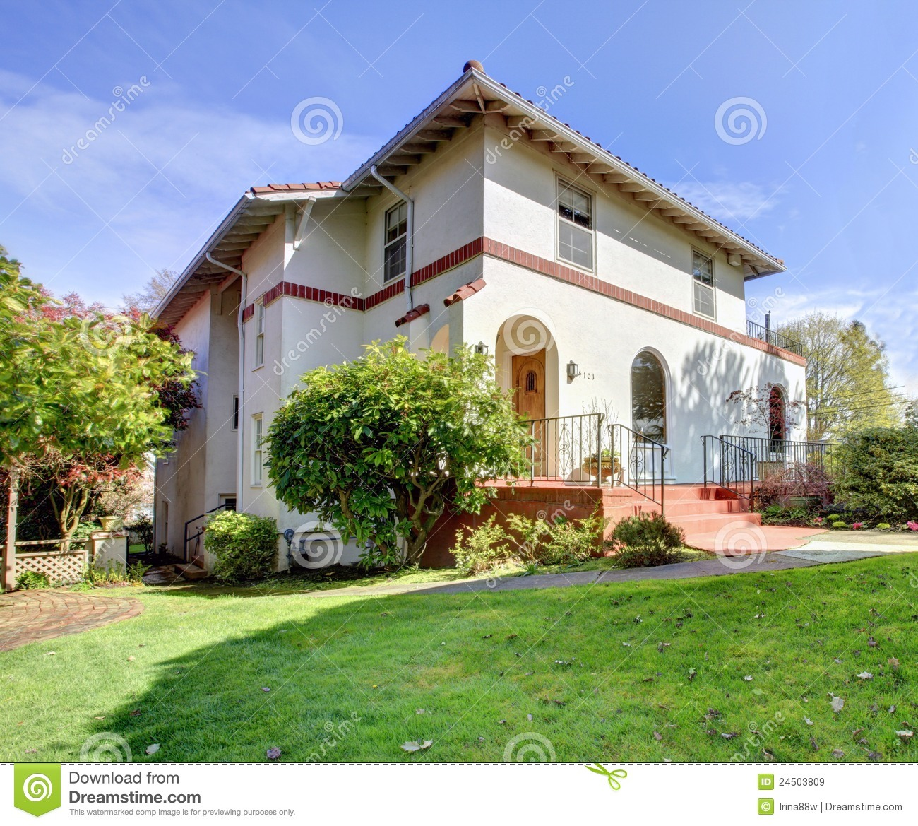 Spanish style white house front exterior royalty free for Spanish style exterior