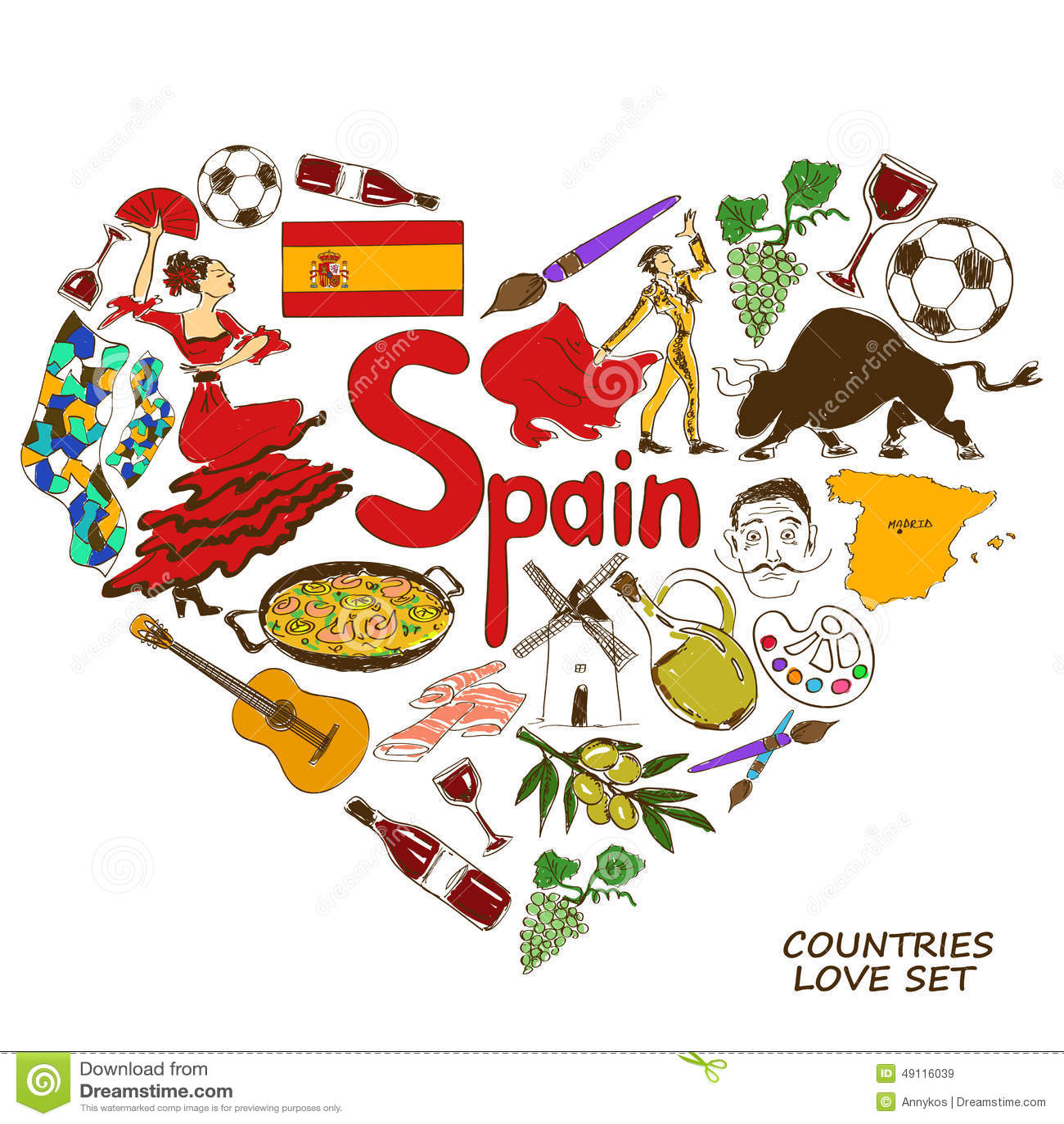 Spanish symbols in heart shape concept stock vector illustration spanish symbols in heart shape concept biocorpaavc