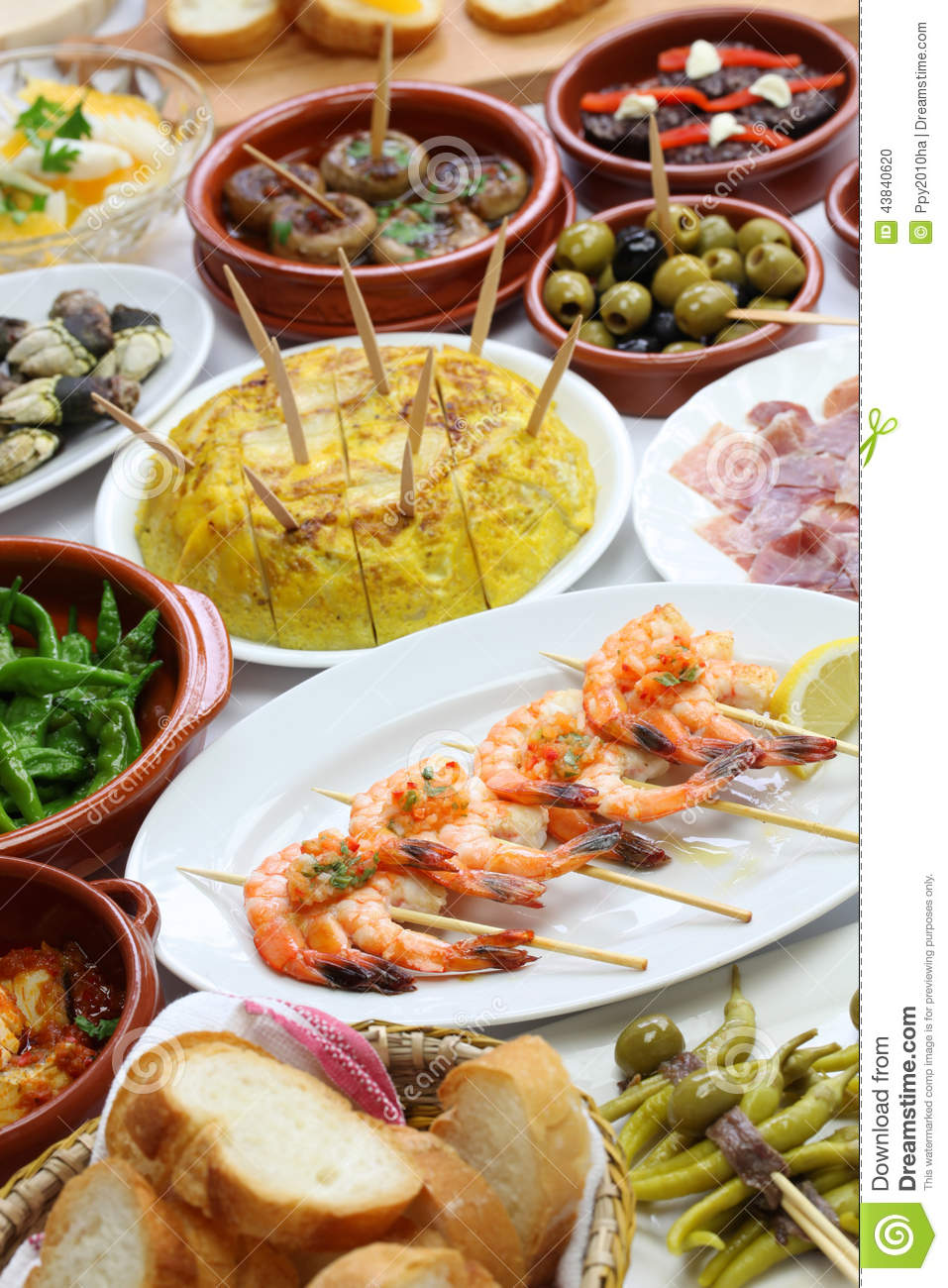 Spanish tapas bar food stock photo image 43840620 for Cuisine bar tapas