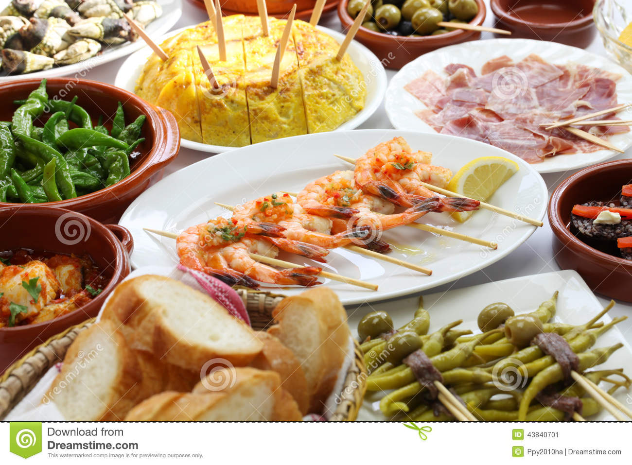 Spanish tapas bar food stock photo image 43840701 for Cuisine bar tapas