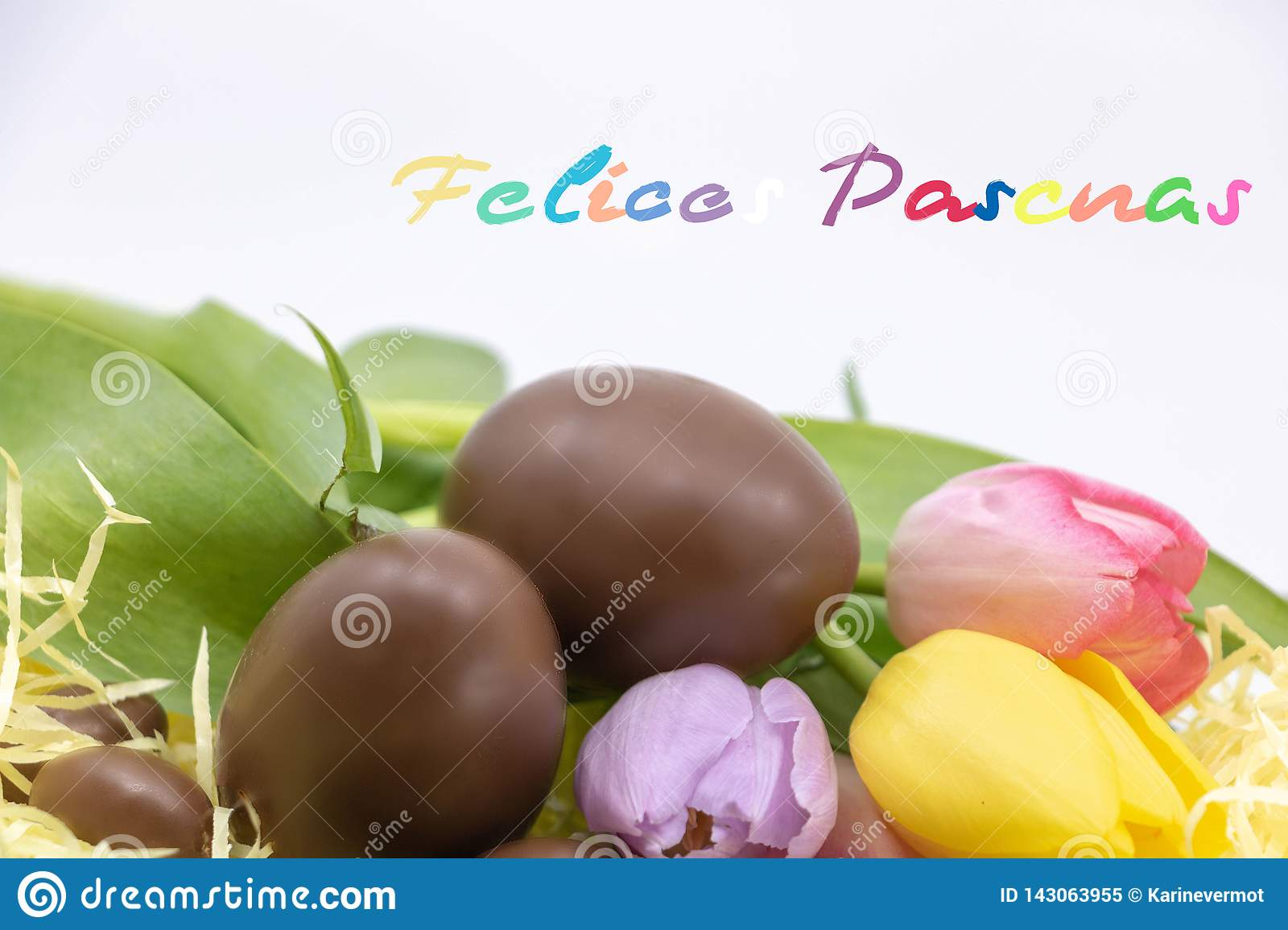 Spanish text Felices pascuas is Happy Easter written in Spanish very colorful to celebrate Easter