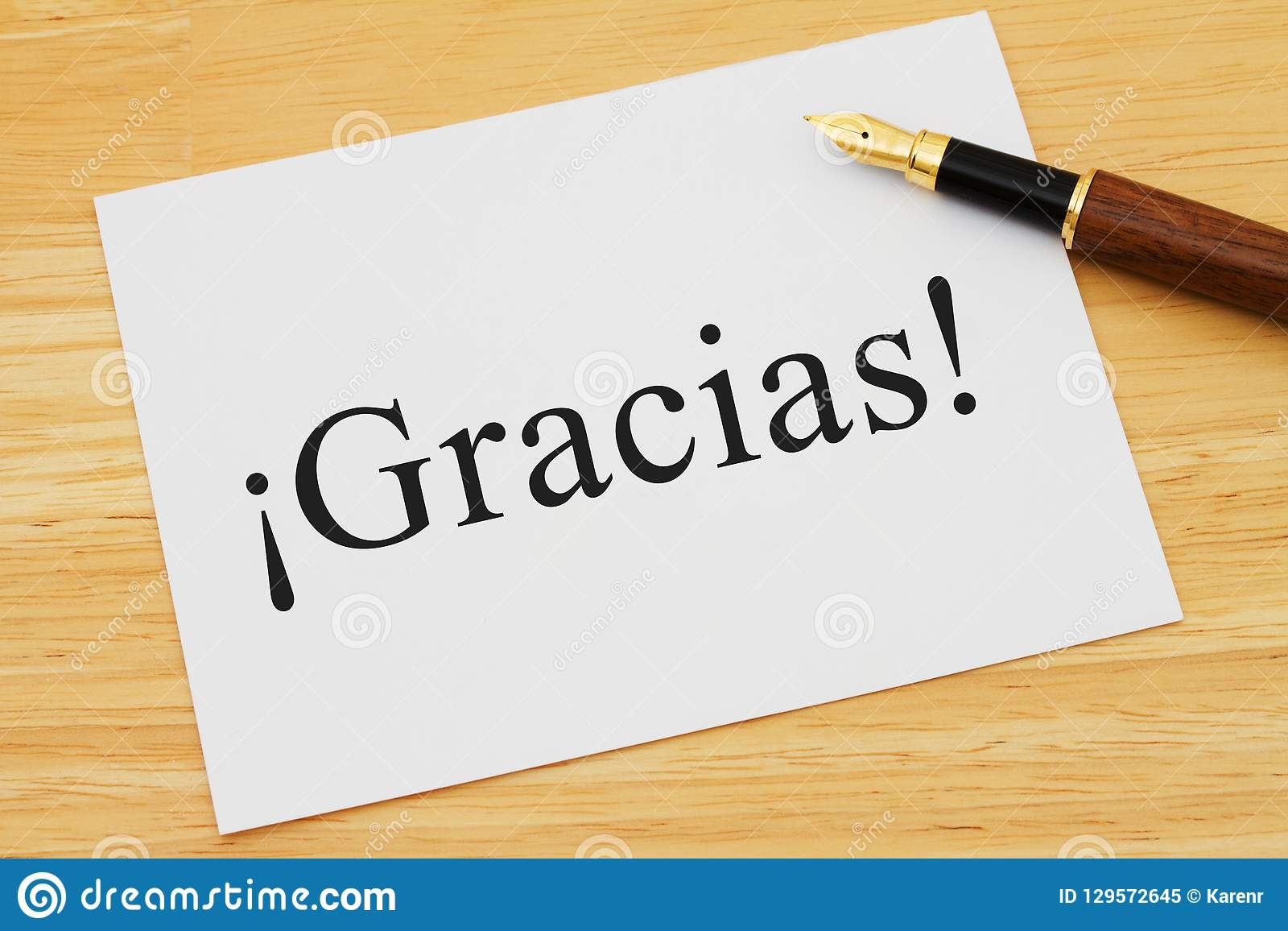 Spanish Thank You Message On Desk Stock Image - Image of spanish